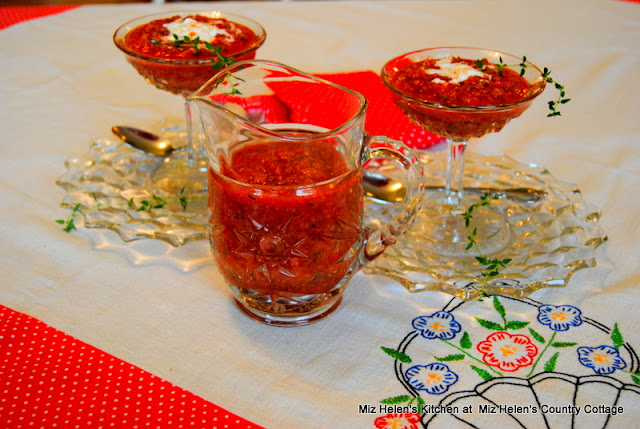 Strawberry Gazpacho at Miz Helen's Country Cottage