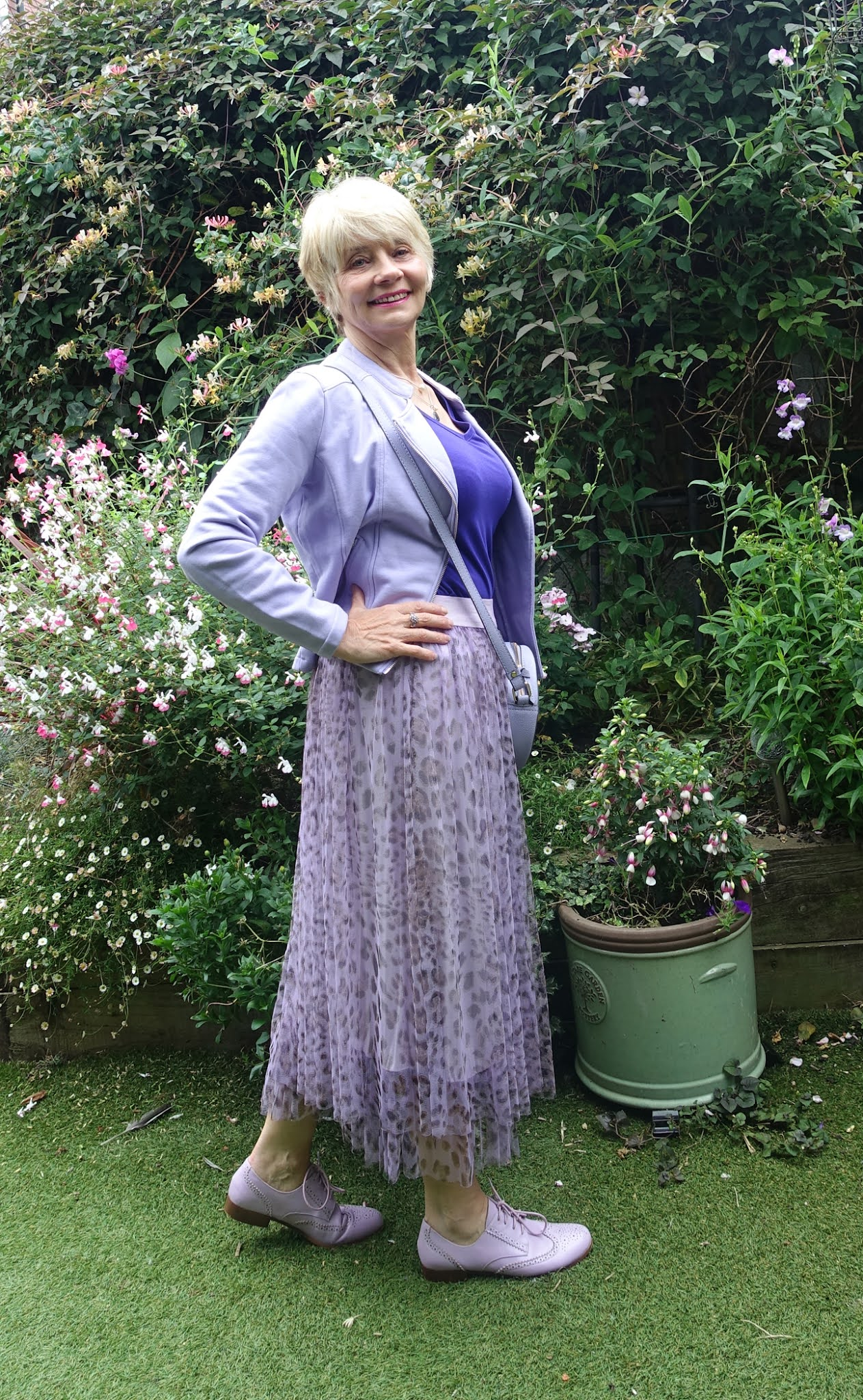 Can older women wear tulle?  Gail Hanlon tries a lilac leopard tulle skirt with lavender and purple