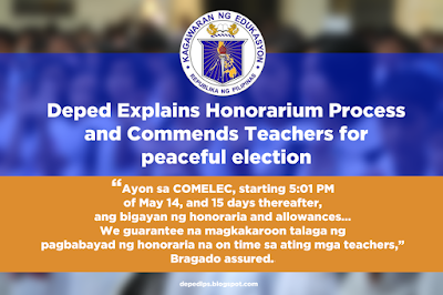 Deped Explains Honorarium Process and Commends Teachers for peaceful election