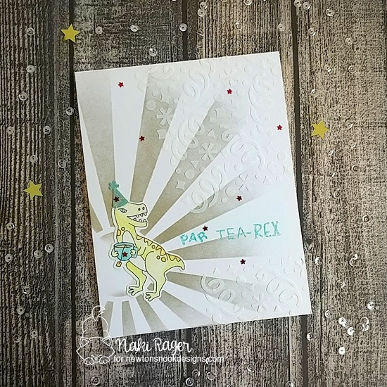 Tea-Rex Birthday Party Card by Nakaba Rager | Tea Rex Stamp Set and Sunscape and Confetti Stencils by Newton's Nook Designs #newtonsnook #handmade