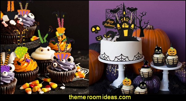 Halloween Cake Topper Haunted House Cake Topper Halloween cupcake decorations halloween party food