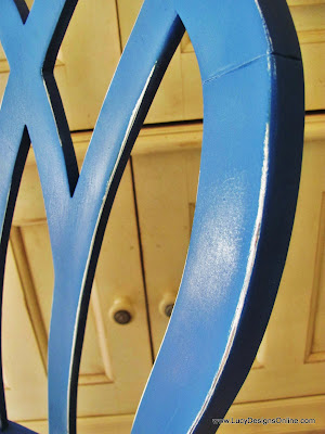 spray painted blue chair makeover