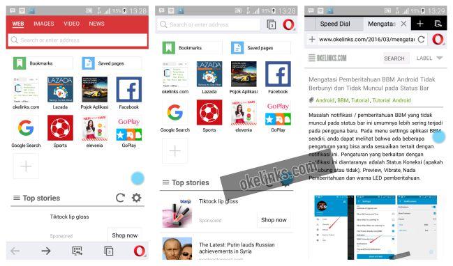 Aplikasi opera mini  android - pilihan tampilan