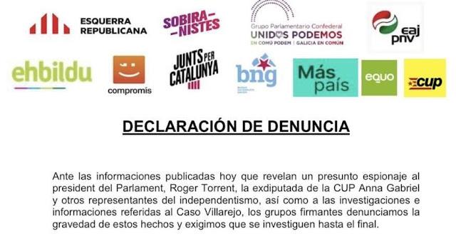 Nueve grupos parlamentarios denuncian la persecución de la disidencia política por parte de las cloacas del Estado