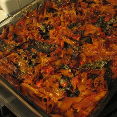 baked penne with marinara, red pepper, and spinach