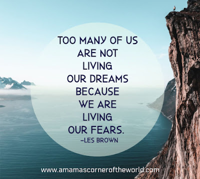 pinnable image with water and mountain and quote about living in fear