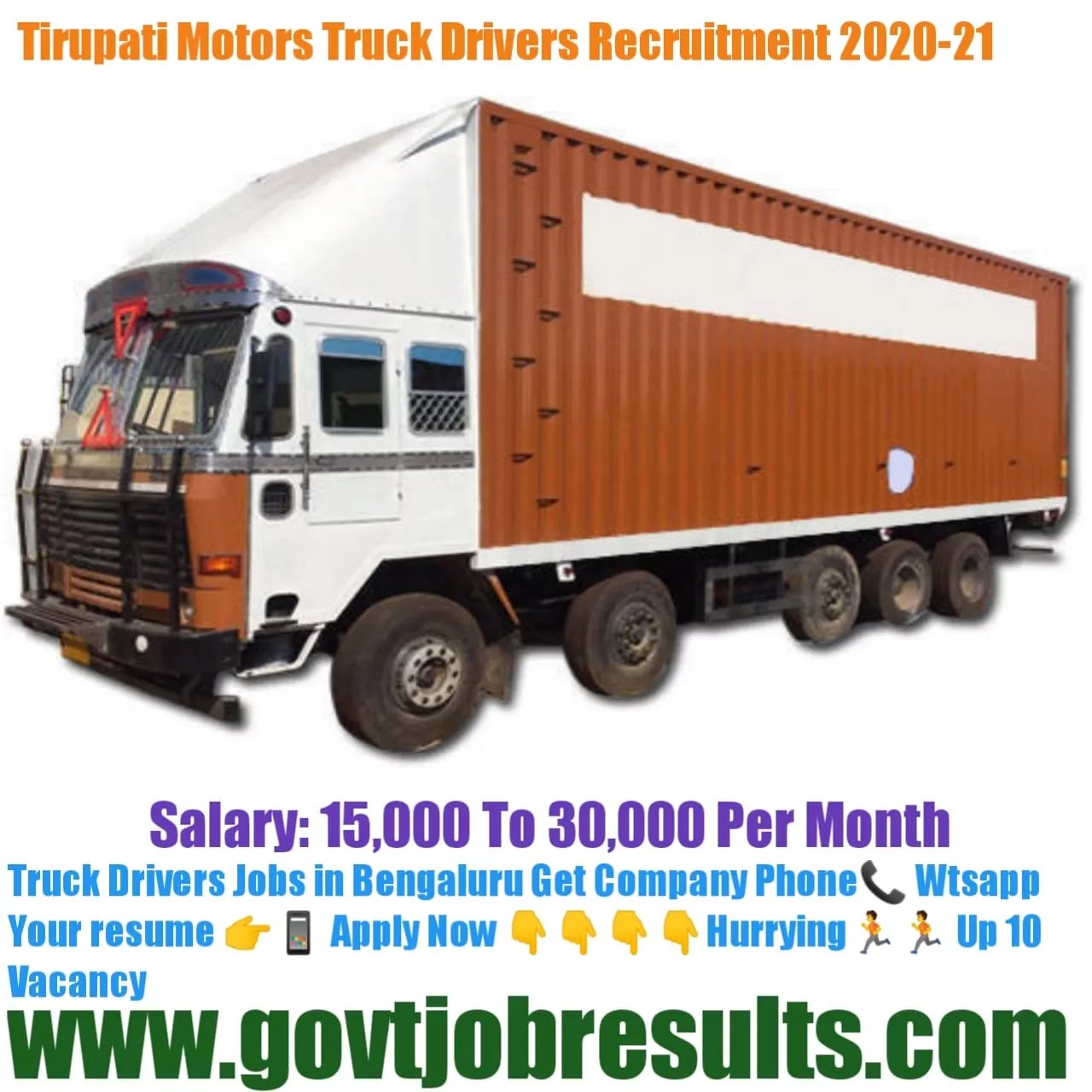 Tirupati Motors Truck Driver recruitment 2020-21