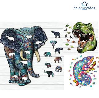 www.ea-onlineshop.de Tiermotiv Puzzle Elefant Drache Holzpuzzle