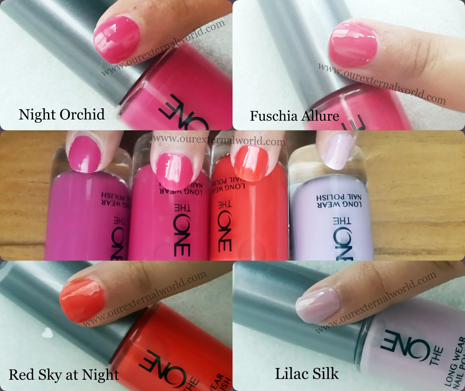 Oriflame The One Long Wear Nail Polish Swatches London Red Night Orchid Fuchsia Allure Red Sky At Night And Lilac Silk