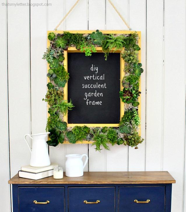 diy vertical succulent garden frame with chalkboard