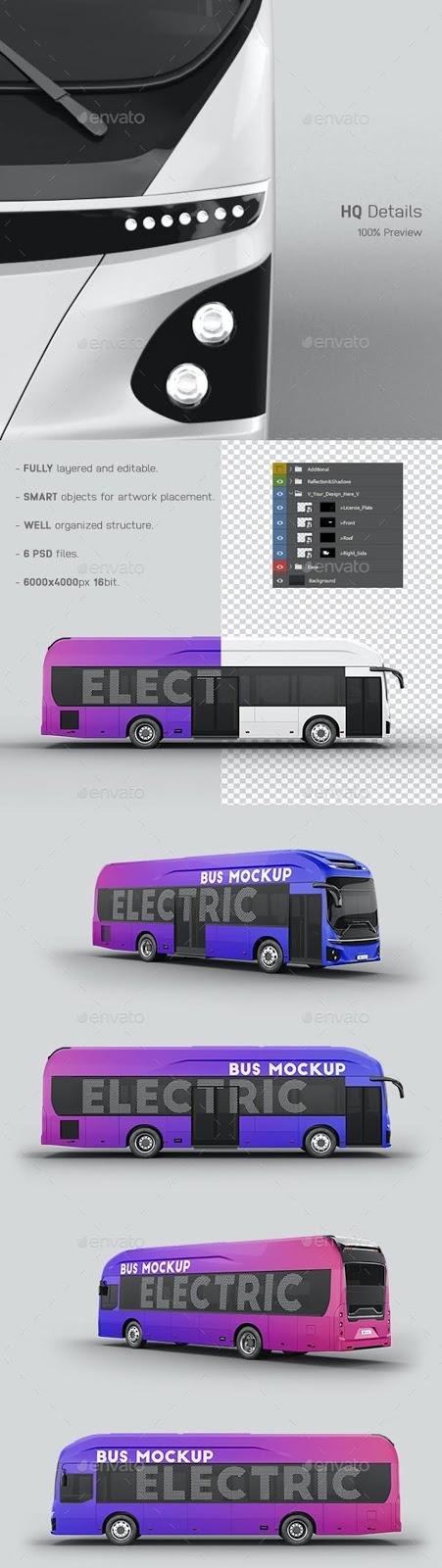Hyundai Electric City Bus Mockup 27476773 Free