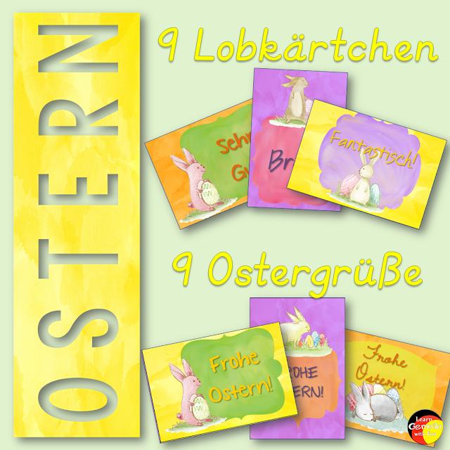 Osterkarten und Lobkärtchen für die Grundschule mit Osterhasen
