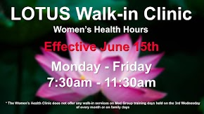 New hours for Lotus Walk-In Clinic women's health