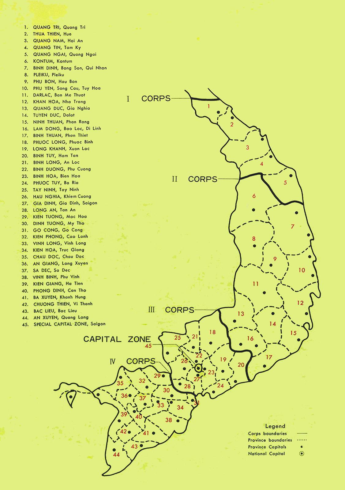 Bản đồ Vùng 4 Chiến thuật IV – 1973