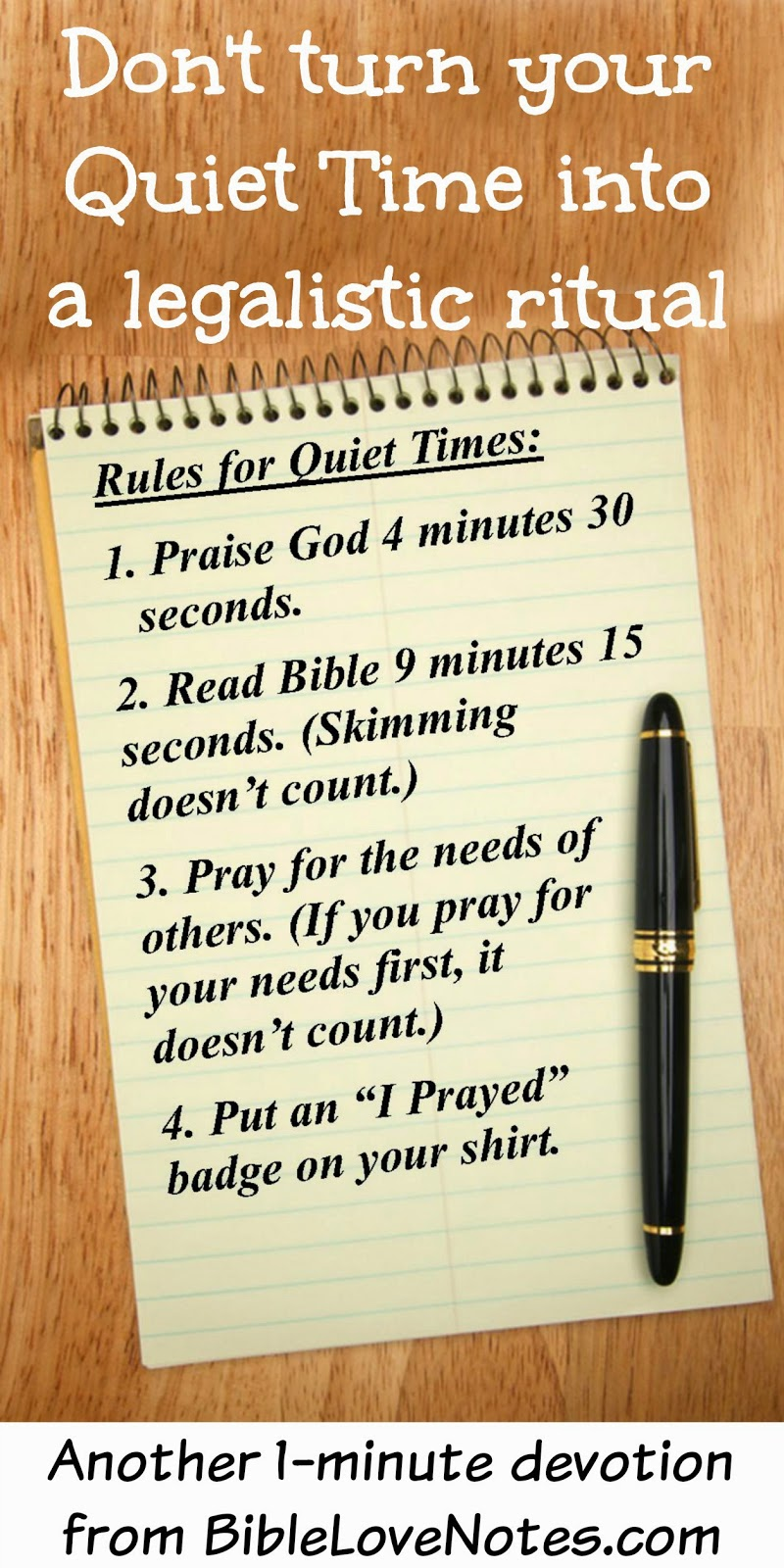 Don't let your Quiet Time get rigid, Time with God