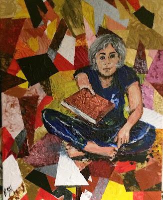 Karine Babel artiste peintre en Dordogne à Périgueux peint une femme en train de tendre un livre.