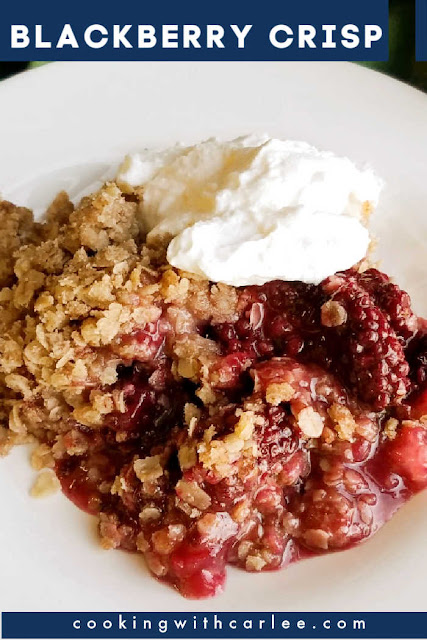 Sweet and tart blackberry filling topped with copious amounts of oatmeal topping makes for a delicious crisp.  Take fresh or frozen blackberries and turn them into this fabulous dessert.  It is great on its own but even better with a scoop of vanilla ice cream! This is a perfect summertime dessert!