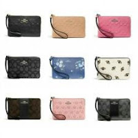 New Coach F58032 F58035 Corner Zip Wristlet New With Tags