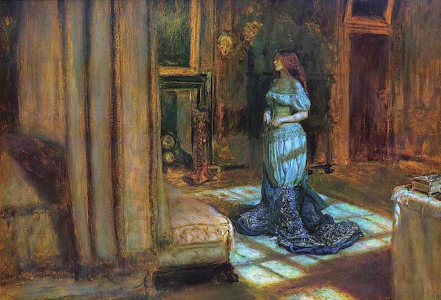 a John Everett Millais painting of a woman in blue moonlight