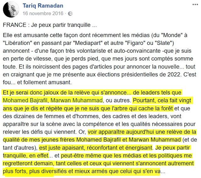 Tariq Ramadan reconnait Marwan Muhammad parmi ses héritiers idéologiques