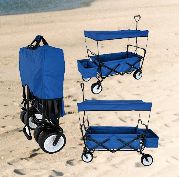 Folding Beach Wagon with Canopy