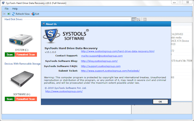 Screenshot SysTools Hard Drive Data Recovery 10.1.0.0 Full Version