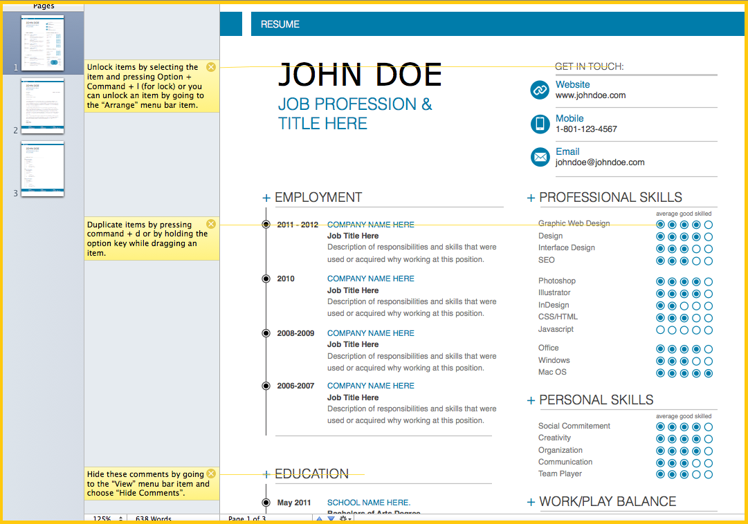 resume template microsoft word