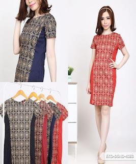dress batik pendek kombinasi polos