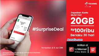 Murah !! Telkomsel 20GB 100rb - Jadwal Surprise Deal Telkomsel