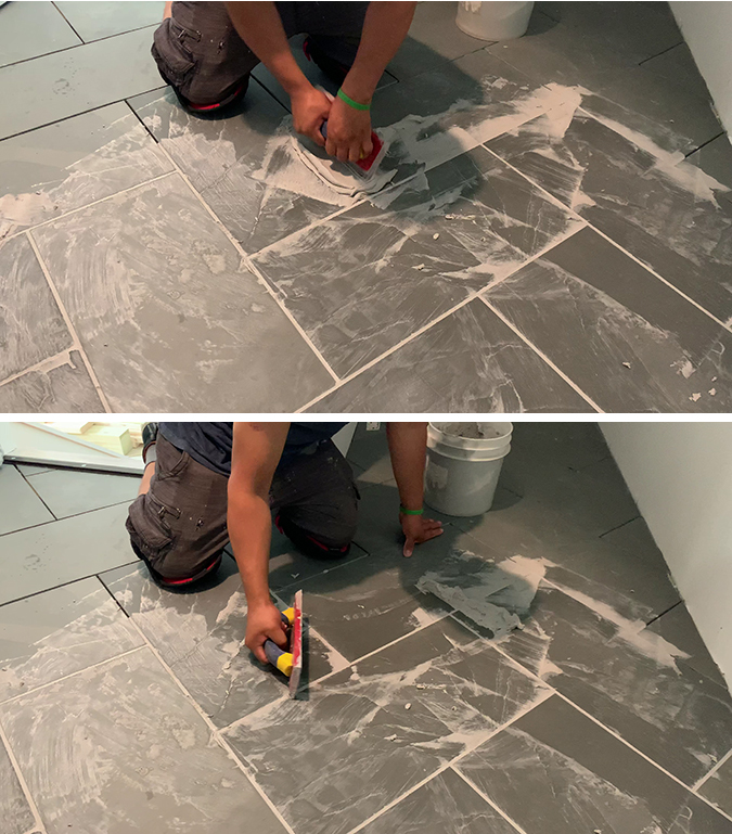 using a grout float to add grout to big 12 x 24 slate tiles