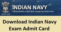 Indian Navy Admit Card