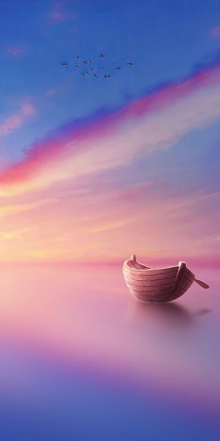 Boat On Calm Ocean phone wallpaper free