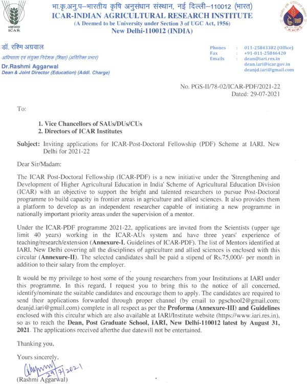 Rs. 75K per Month | ICAR - Post-Doctoral Fellowships (ICAR-PDF) @ IARI, New Delhi for 2021-22 |