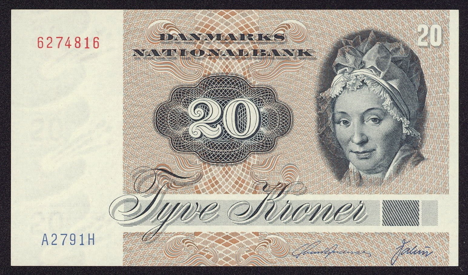 Banknotes of Denmark 20 krone banknote 1972 Pauline Tutein