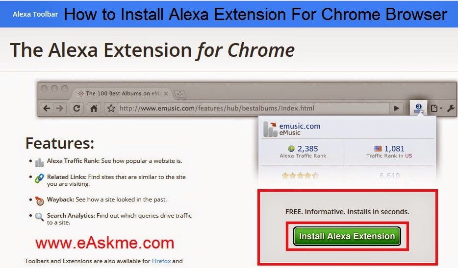 How to Install Alexa Toolbar on Chrome Browser : eAskme