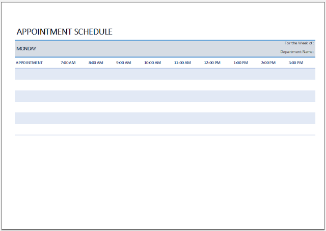 Weekly Appointment Sheet Template Excel