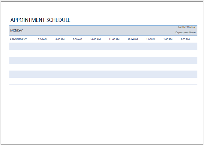 Weekly Appointment Sheet Template Excel FREE DOWNLOAD