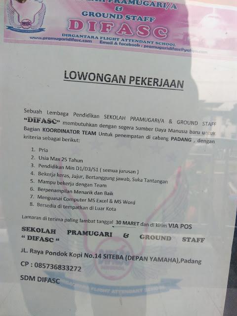 Lowongan Kerja Padang: Difasc (Sekolah Pramugari & Ground Staff) Maret 2017