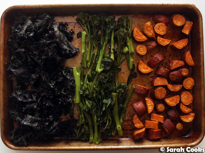 Roast kale, broccolini, sweet potato