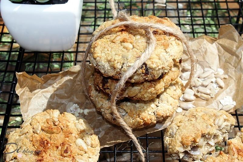 Ciasteczka jaglane/owsiane ze słonecznikiem (bez cukru, jajek i mąki)