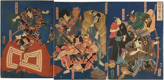 初代から8代目までの歴代団十郎が当たり役に扮した浮世絵