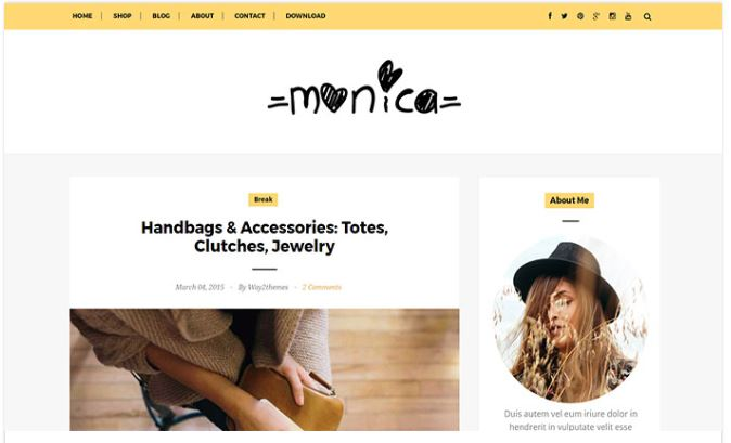 Chia sẻ giao diện blogger Monica Blogger Template