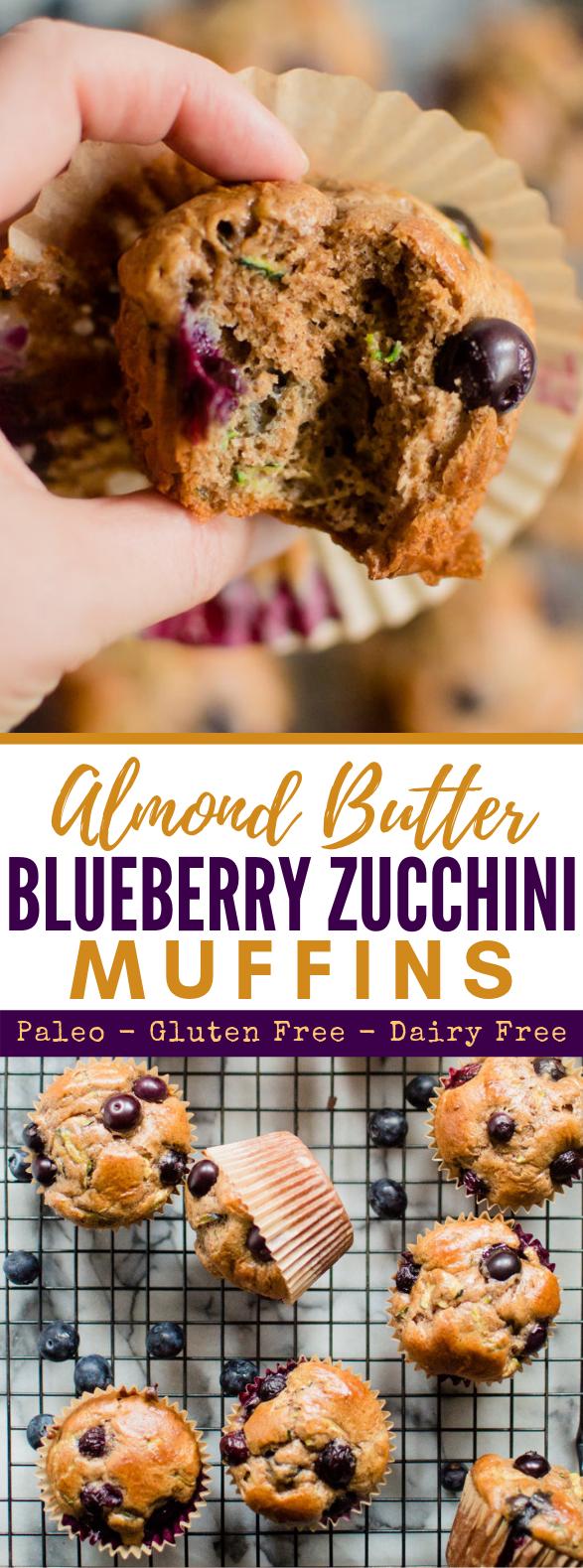 Almond Butter Blueberry Zucchini Muffins {Paleo, Gluten Free, Dairy-free} #healthydiet #keto