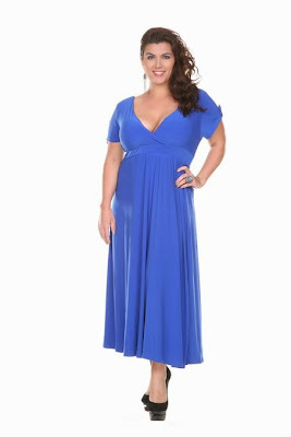 Stanzino Women's Plus Size V-Neck Elastic Waist Maxi Dress
