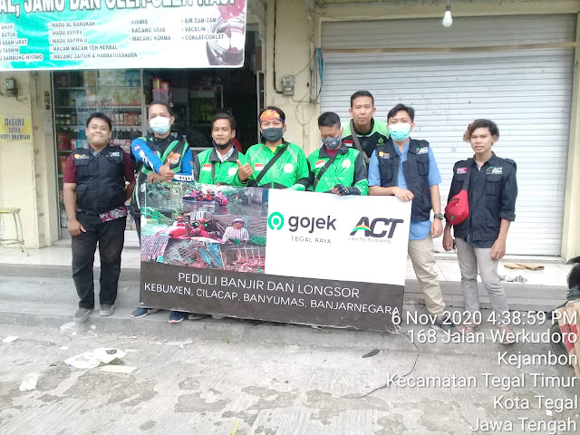 ACT Menggandeng Gojek Tegal Raya Sumbang Korban Banjir di Kebumen, cilacap, Banyumas dan Banjarnegara