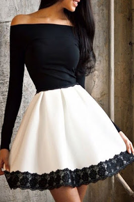 Black and white fit dress