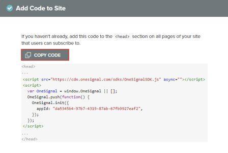 OneSignal Code Copy Kar lijiye