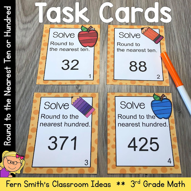 Click here to Download this 3rd Grade Go Math 1.2 Round to the Nearest Ten or Hundred Task Cards Resource for Your Classroom Today