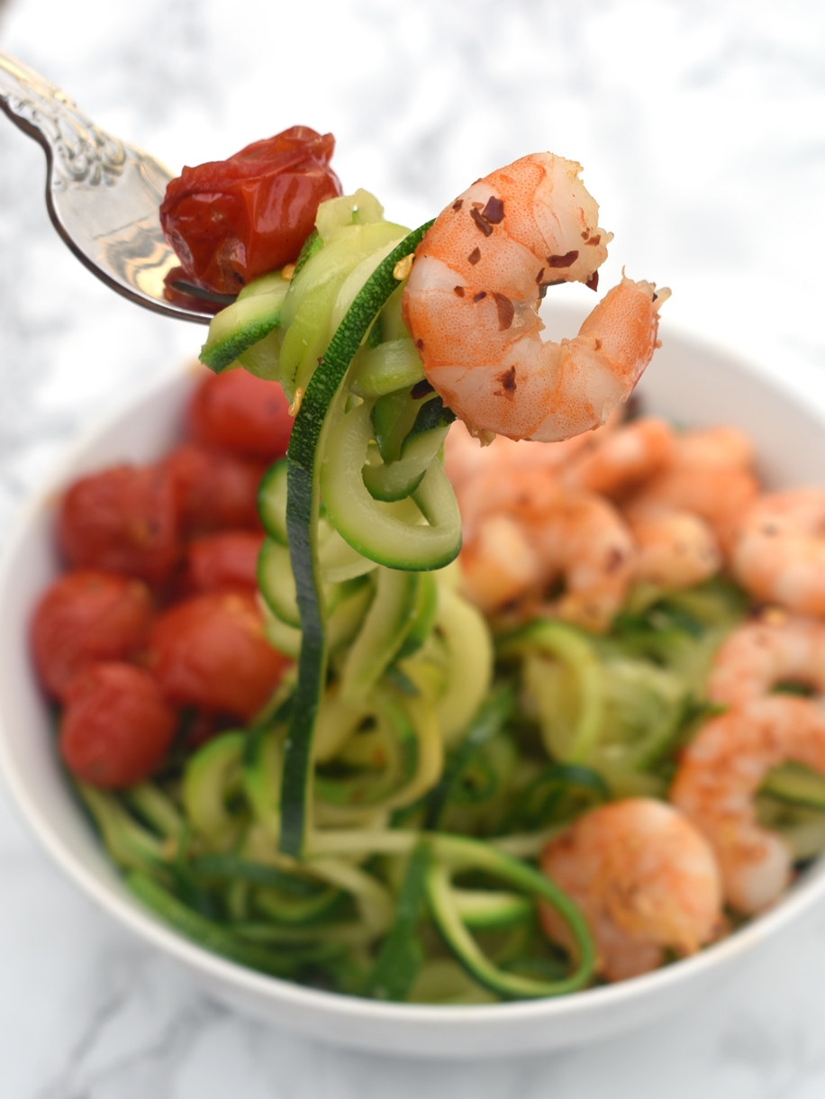 Shrimp, tomatoes and zoodles