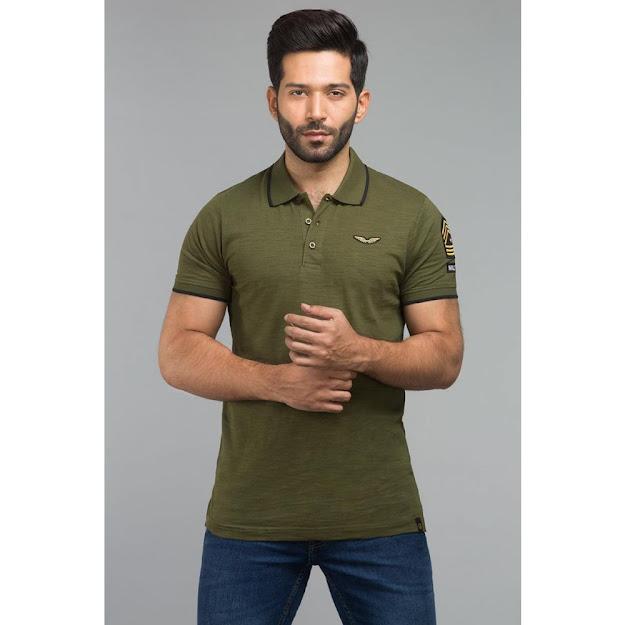 Gul Ahmed Green color Polo Fashion shirts
